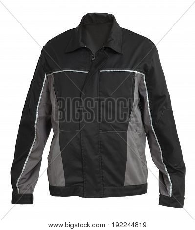 Protective working black and grey jacket isolated on white background
