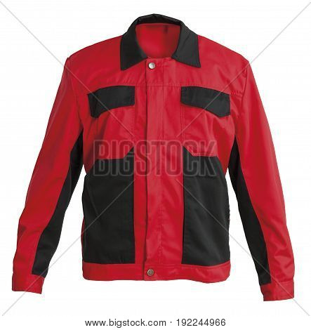 Protective working black and red jacket isolated on white background