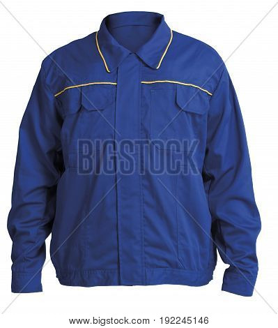 Protective working blue jacket isolated on white background