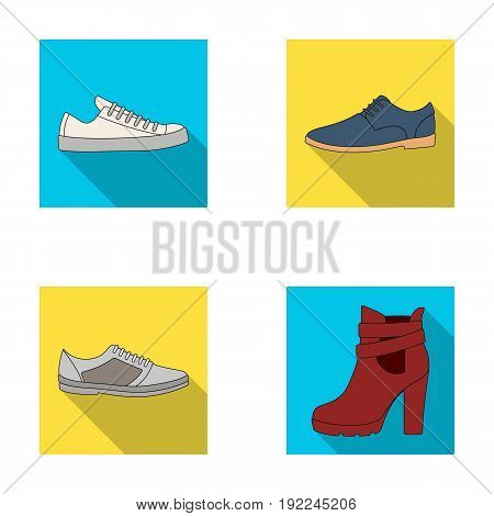 A set of icons on a variety of shoes.Different shoes single icon in flat style vector symbol stock illustration.