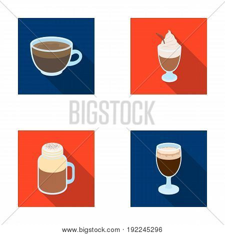 Esprecco, glase, milk shake, bicerin.Different types of coffee set collection icons in flat style vector symbol stock illustration .