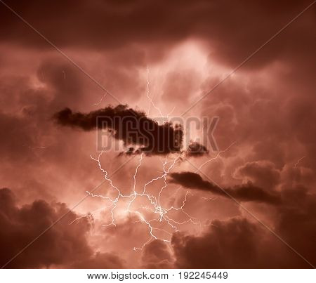 Lightning striking through heavy clouds during the storm