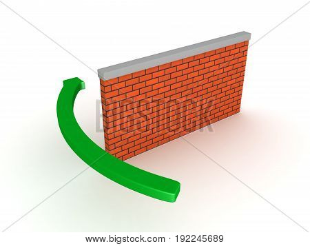 3D Illustration of arrow circumventing brick wall. Isolated on white.