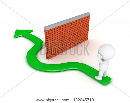 3D Character thinking about how to circumvent obstacle barrier depicted as a brick wall. Isolated on white.