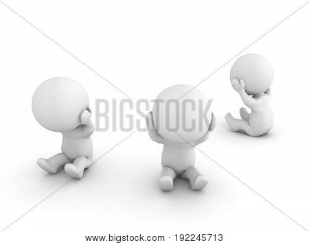 Group Of 3D Characters Being Sad And Depressed