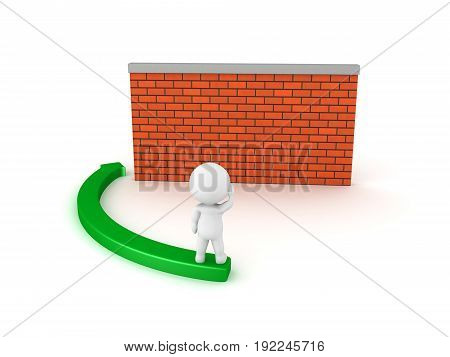 3D Character thinking about how to circumvent obstacle or barrier. Isolated on white.