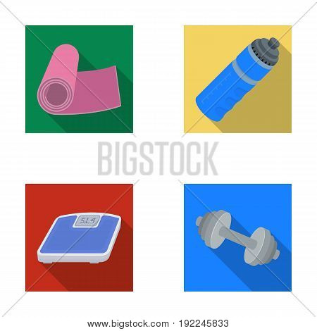 A dumbbell, a rug and other equipment for training.Gym and workout set collection icons in flat style vector symbol stock illustration .