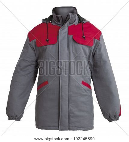 Protective working winter jacket isolated on white background