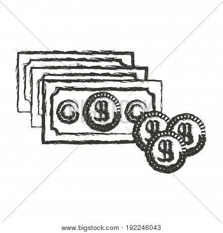 monochrome blurred silhouette of money bills and coins set vector illustration