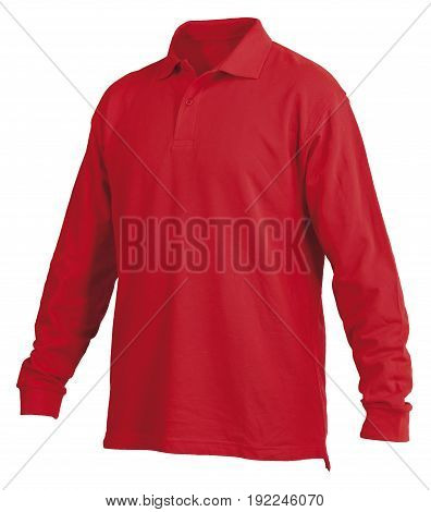 Red long sleeve shirt isolated on white background isolated on white