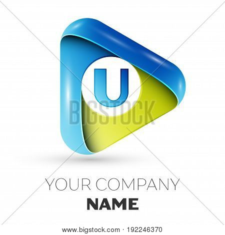 Realistic Letter U vector logo symbol in the colorful triangle on grey background. Vector template for your design