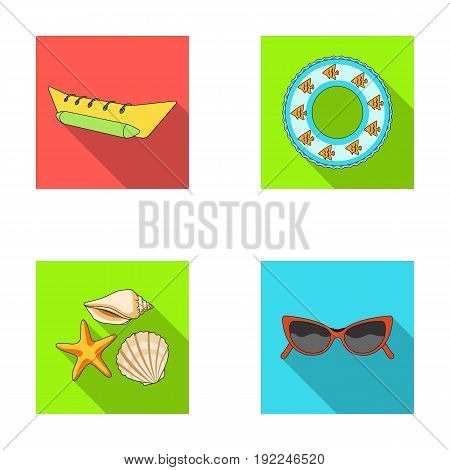 Water attraction, seashells, goggles.Summer vacation set collection icons in flat style vector symbol stock illustration .
