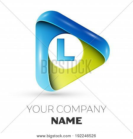 Realistic Letter L vector logo symbol in the colorful triangle on grey background. Vector template for your design