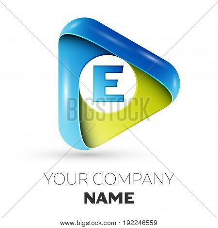 Realistic Letter E vector logo symbol in the colorful triangle on grey background. Vector template for your design
