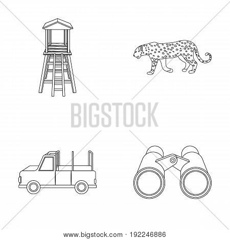 Observation tower for the hunter, leopard, hunting machine, binoculars. African safari set collection icons in outline style vector symbol stock illustration .