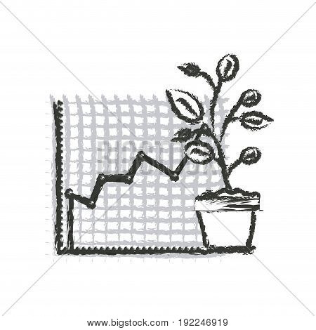 monochrome blurred silhouette of growing and financial risk graphic vector illustration