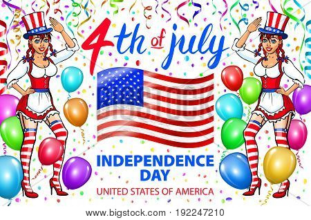 Illustration Of A Girl Celebrating Independence Day Vector Poster. 4Th Of July Lettering. American R