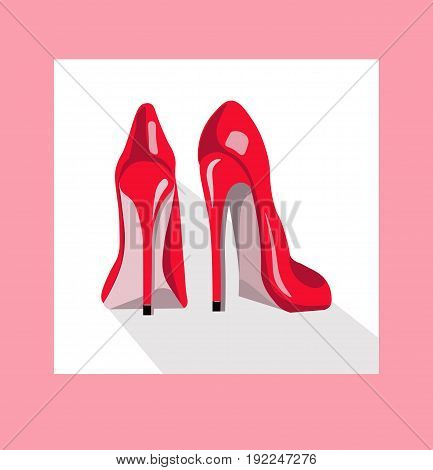 Red shoes on pink background. Vector illustration
