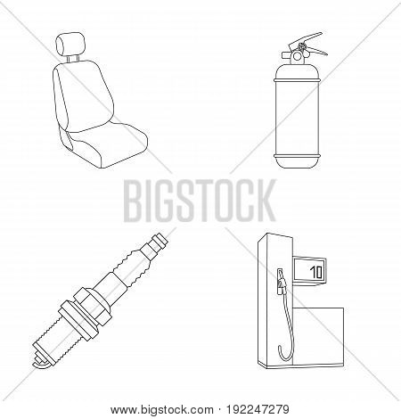 Chair with headrest, fire extinguisher, car candle, petrol station, Car set collection icons in outline style vector symbol stock illustration .