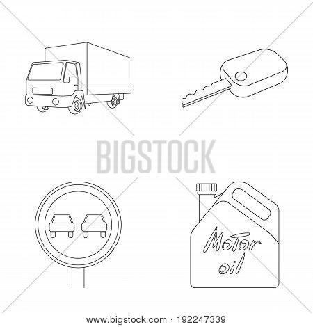 Truck with awning, ignition key, prohibitory sign, engine oil in canister, Vehicle set collection icons in outline style vector symbol stock illustration .