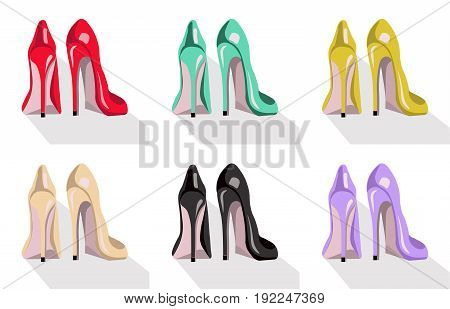 Colorful high heel shoes set white background. Vector illustration