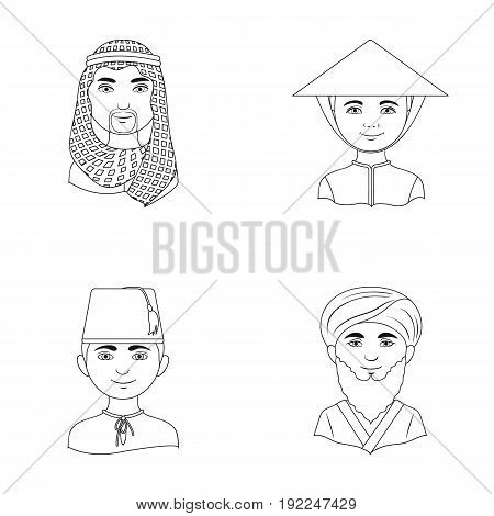 Arab, turks, vietnamese, middle asia man. Human race set collection icons in outline style vector symbol stock illustration .