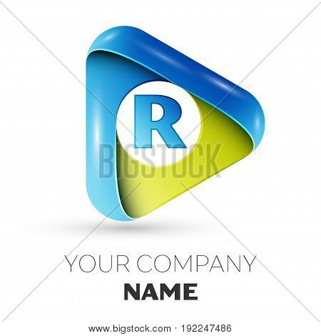 Realistic Letter R vector logo symbol in the colorful triangle on grey background. Vector template for your design