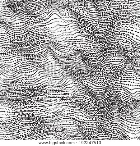 Abstract Zig Zag Background - Striped Chaotic Waves. Black And White