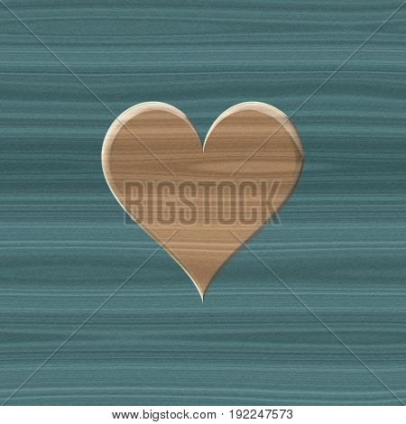 Beautiful love symbol of wooden texture on wood desk blue surface