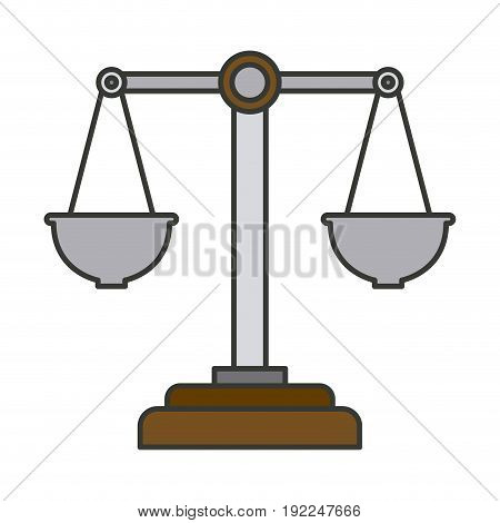 colorful silhouette of justice scales vector illustration