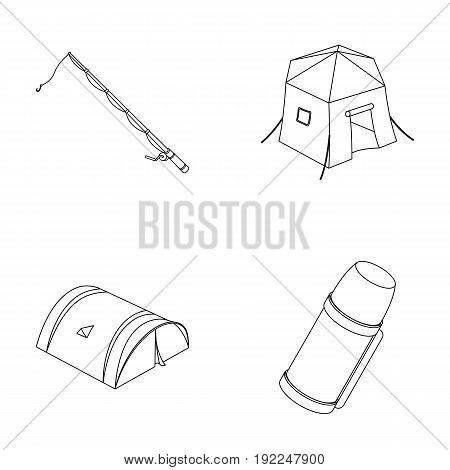 Spinning for fishing, tent, thermos.Tent set collection icons in outline style vector symbol stock illustration .