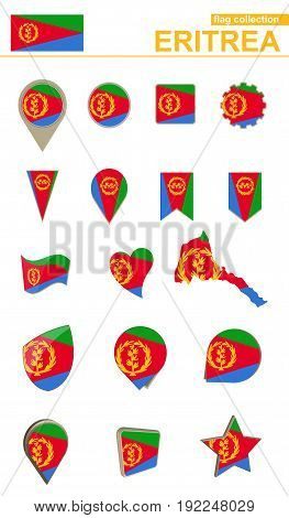 Eritrea Flag Collection. Big Set For Design.