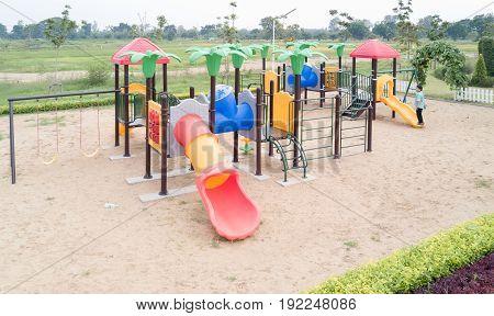 top view of children playground in public park