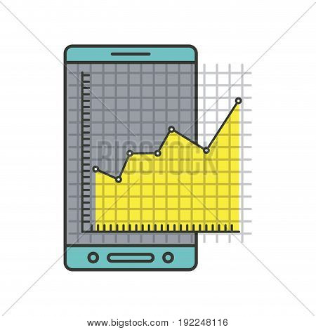 colorful silhouette of cellphone and financial risk graphic vector illustration