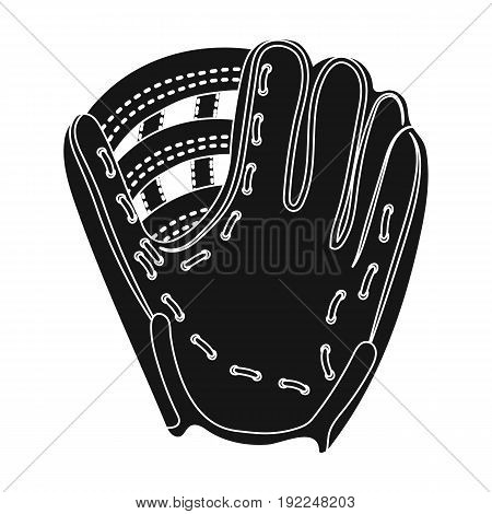Glove trap. Baseball single icon in black style vector symbol stock illustration .