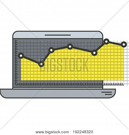 colorful silhouette of laptop computer and financial risk graphic vector illustration