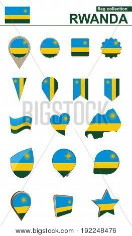 Rwanda Flag Collection. Big Set For Design.