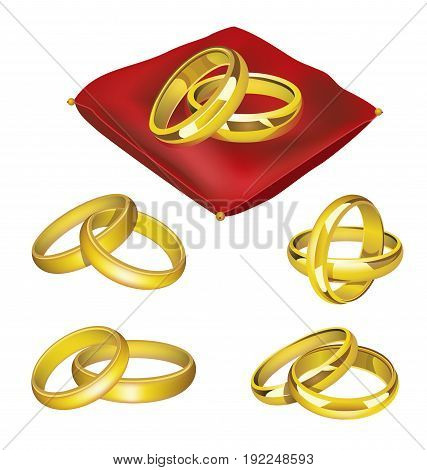 Wedding Rings - realistic modern vector set of gold objects on red pillow in different positions. White background. Use this quality clip art elements for your invitation design. Greet the newly weds.