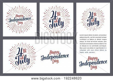 Set horizontal, vertical, square posters. Happy Independence Day lettering inscription with rays. Vintage hand drawn calligraphy for poster, greeting card and banner Fourth July. Dark background