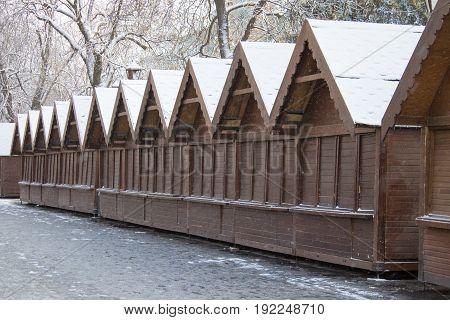 Morning Closed Christmas Fair In Winter A Wooden Kiosk