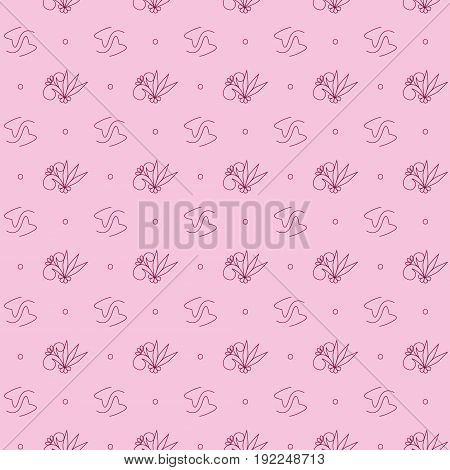 Seamless pattern of abstract flowers vector illustration sketch colored marsala pink