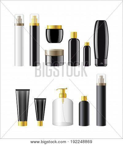 Cosmetic Items Packaging- realistic vector tubes, bottles, jars templates set. White background. Use clip art elements to present make up, perfume, soap, deodorant, toilet water, gel, shampoo, cream