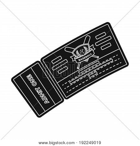 Baseball Ticket. Baseball single icon in black style vector symbol stock illustration .