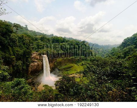 Panorama of main cascade of Ekom waterfall at Nkam river Cameroon