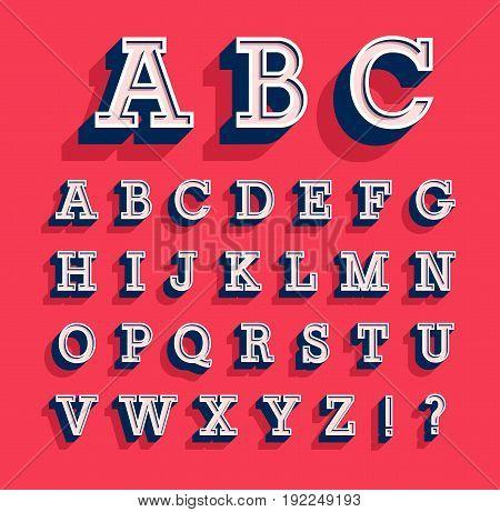 Retro creative alphabet with shadow effect. Vector illustration.