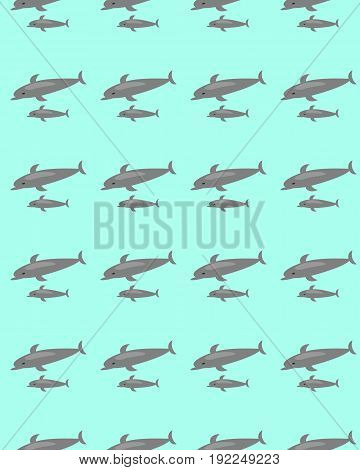 Seamless pattern mother and baby dolphin. Two dolphins