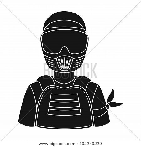 A player in paintball.Paintball single icon in black style vector symbol stock illustration .