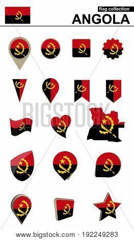 Angola Flag Collection. Big Set For Design.