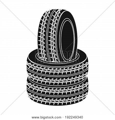 Barricade of tires.Paintball single icon in black style vector symbol stock illustration .