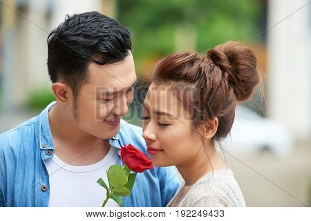 Portrait of young Asian couple dating: smiling man presenting red rose to girlfriend outdoors